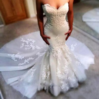Wholesale elegant slim wedding dresses resale online - 2019 Elegant Slim Sweetheart Mermaid Wedding Dresses Lace Appliques Chapel Custom Wedding Gowns Bandage Back Tulle Bridal Gowns Spring Cheap