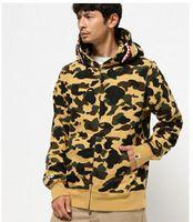 hoodies do exército para homens venda por atacado-Outono Inverno Hoodies Dos Homens Do Exército Camuflagem Verde Capa Camo Fleece Zipper Moda Hip Hop Streetwear Casaco Com Capuz
