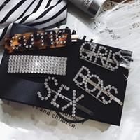 Wholesale crystal acrylic hair clips resale online - AOMU Fashion Luxury Crystal Rhinestones Hair Clips Leopard Acrylic Hairpin Hair Accessories for Women Letters Hairgrip Headwear