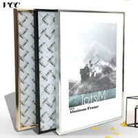 Wholesale metal modern wall hangings resale online - Picture Frame Wall Art Classic Reinforce Aluminum A4 A3 Poster Frame For Wall Hanging Metal Photo Frame Wall Certificate Frame SH190918