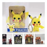 Wholesale ring pendant children for sale - Group buy Cartoon Pikachu Keychain Anime Men And Women Cos Key Buckle PVC Keys Ring Bag Pendant Child Toy Yellow Black bw C1