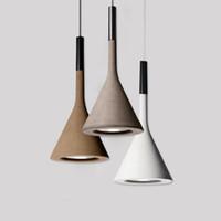 çimento lambası toptan satış-Modern kolye lamba Tavan Lambası Reçine Kolye aydınlatma İmitasyon Pevere çimento LED Işık Klasik yaratıcı bar restoran avize