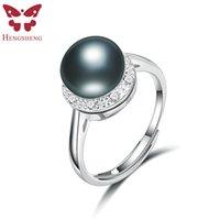 anillo de perlas negro plata esterlina al por mayor-negro HENGSHENG Natural Negro, circón de plata, 925 mujeres anillo de plata esterlina, blanco / azul / verde / oro perlas de agua dulce