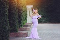 Wholesale shot sleeves online - Maternity Dresses For Photo Shoot Maternity Photography Props Pregnancy Off Shoulder Ruffles Maxi Dresses Gown Pregnant Clothes