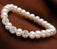 bijoux en argile naturelle achat en gros de-Véritable Naturel Bracelets De Perles D'eau Douce Bracelets Pour Les Femmes avec Argile Blanche Zircon Ball Élasticité Bijoux Cadeau