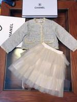ingrosso vestiti di lana per le ragazze-HotAutumn set gonna per ragazze nuove abiti firmati per bambini giacca in lana + gonna per torta set di cotone fodera in tessuto composito autunno 2 pezzi