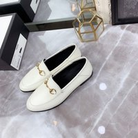 Wholesale buttons horses for sale - Group buy Top brand best designer luxury high quality men s women s leather loafers with horse button buckle men s and women s flat shoes size