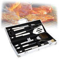 Wholesale bbq tool sets resale online - Professional Outdoor BBQ Utensils Accessories Kit With Aluminum Box Pieces Set Stainless Steel Barbecue Tools Cooking VT1145