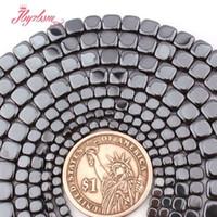 ingrosso monili quadrati neri del branello-Perline in pietra naturale quadrata nera con ematite (senza magnete) da 3,4,6 mm per gioielli fai da te collana 15