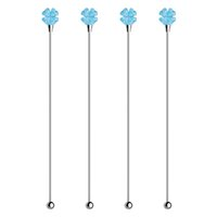 rührstäbchen trinken groihandel-Creative Four Leaf Clover Handle Swizzle Sticks 4 Pieces Gifts Set Stainless Steel Drink Stir for Bar Cocktail Beverage Four Colors