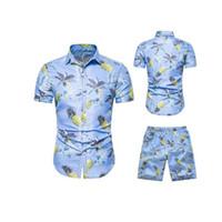пляжные брюки оптовых-Hawaii Summer Mens Повседневный набор мужской одежды Цветочные рубашки Пляжные шорты Рубашки с принтом Шорты Брюки из двух частей костюм плюс размер