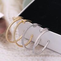 pendiente de oro lleno de rubí al por mayor-SWOUR Nueva joyería de moda S925 Silver Needle Clear Cubic Zirconia Big Circle Nail Design Pendientes de aro Femme de calidad superior S495