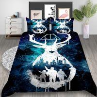 juego de cama de ciervo reina al por mayor-Juego de cama Queen Size Harry Potter Deer Mysterious Creative 3D Funda nórdica King Home Deco Single Single Bed Cover con funda de almohada