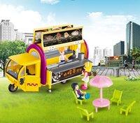 игрушки для кухни оптовых-KDW Alloy Truck Model Toys, мобильная тележка для закусок с куклами, кухонной утварью, 1:20, для подарков ко дню рождения Party Kid, коллекционирование, украшение дома