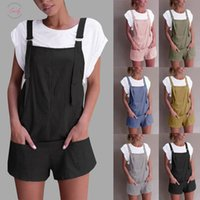 Wholesale polyester elastic straps for sale - Group buy Linen Elastic Rompers Women Waist Dungarees Cotton Pockets Playsuit Strap Shorts Pants Drop Shipping Good Quality