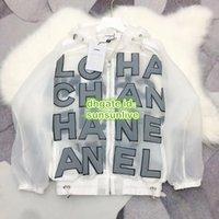 beyaz organze üstleri toptan satış-High End Unisex Boy Vintage Lüks Tasarımcı Kızlar Mektup Organze Fermuar Bombacı Kapüşonlu Ceket Erkekler Pist Logosu Kadın Beyaz Ceket Tops