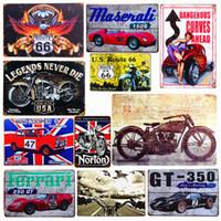 motosiklet kalay metal toptan satış-Plak Araba Tema Vintage Metal Tabelalar Motosiklet Duvar Posteri Çıkartmalar Plaka Boyama Bar Club Pub Ev Dekor Duvar 20 * 30 cm A134