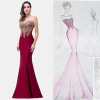 ingrosso immagini vestono i modelli-Nuovo 2019 economici Mermaid Prom Dresses modello Appliques in pizzo Elegante arabo Dubai abiti da sera formale lungo Sheer Neck senza maniche Immagine reale