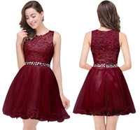 Wholesale homecoming dress belt resale online - In Stock Burgundy Ruffles Mini Short Homecoming Dresses A Line Jewel Neck Appliques Beads Belt Cocktail Prom Gowns CPS381