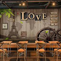 Wholesale wheel mould resale online - Retro personality LOVE wallpaper wooden wheel wallpaper Cafe dining room living room wall paper mural