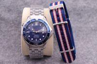 ingrosso tessuti zaffiro-Professionale 300m degli uomini di lusso di James Bond 007 Blu Quadrante Nero Zaffiro fibbia originale uomini della vigilanza automatica (con tessuto)