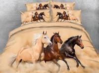 ingrosso cuscino reattivo-Cavallo al galoppo in esecuzione in Desert Storm 3D Stampa reattiva Copripiumino cavallo Set copriletto decorativo Set biancheria da letto 3 pezzi con 2 federe cuscino