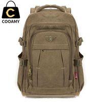 Wholesale canvas backpack military resale online - Men s Military Canvas Backpack Zipper Rucksacks Laptop Travel Shoulder Mochila Notebook Schoolbags Vintage College School BagsMX190905