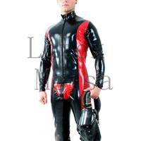 ingrosso corpo del lattice rosso-Body in latex a manica lunga in latex da uomo, attaccato alla zip frontale e al culo in nero con finiture rosse