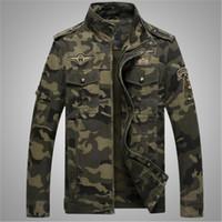 outerwear da cópia do exército venda por atacado-Rússia EUA Homens Camuflagem Jaquetas de Impressão Outono Inverno Militar Brave Army Stand Juventude Pescoço Casuais Outerwear Zipper Pockets