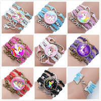 Wholesale kids gems for sale - Group buy Girl Unicorn Bracelet Multilayer Rainbow Horse Time Gems Bracelets Fashion Leather Charms Chain Cord Bangle Kids Jewelry Accessories