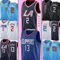 bordado xxxl al por mayor-NCAA LA Kawhi 2 Leonard Jersey Hombre Paul 13 George Jersey Universidad Bordado Camisetas de baloncesto S-XXXL