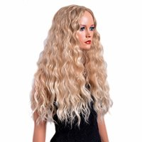 красивые длинные волосы женщины оптовых-HAICAR Sexy Beautiful Gold Party Wigs Long Curly Hair Mixed Colors Synthetic Wig Curly Wigs for Women 45# dropship