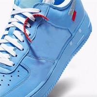 meias top tênis venda por atacado-2019 Hot off Authentic Air Force1 1 Baixo Universitário MCA Azul Branco Vermelho Metálico De Prata CI1173-400 Homens Mulheres Tênis Esportivos Sneakers