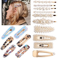 Wholesale hairpins mix resale online - Pearls Hairpin Set Stylish Acetate Plate Hair Clips Mix Different BB Clip Sweet Fashion Designer Women Woman Hair Accession
