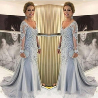 Wholesale lace sheer straps v neck resale online - Sky Blue Mermaid Plus Size Mother Of The Bride Dresses V Neck Long Sleeves Lace Appliques Tulle Beads Sweep Train Party Evening Gowns