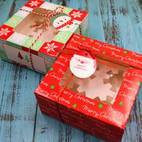ingrosso scatole di imballaggio del bigné-Scatola per dolci natalizi 4 grani di vetro scatola per imballaggio cupcake torrone cioccolato confezioni regalo decorazioni natalizie per la casa 10 pezzi