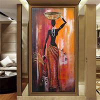 toile à l'huile de filles achat en gros de-100% peint à la main figure peinture à l'huile femme africaine toile art classique grand vertical afrique fille mur décoratif photo