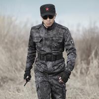 traje de hombre uniforme del ejército al por mayor-Outdoor Man Army Tactical Uniform Black Camouflage Combat Suit War Game Cs Training Clothing Chaqueta + Pantalones 4xl