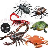 serpiente de juguete a distancia al por mayor-simulación infrarroja divertido animales de control remoto RC juguete de regalo escorpión araña cangrejo de uñas juguetes tortuga Que caminan por niño