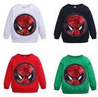 spiderman hemden großhandel-Neuer Junge scherzt Kleidungs-lange Hülsen-runder Kragen Paillette Spiderman Entwurfs-Frühlings-Fallt-shirt 5 Farben freies Verschiffen