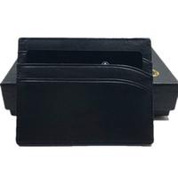 metal id kasa cüzdanı toptan satış-Gerçek Deri KIMLIK Kartı Vaka Çanta Klasik Siyah Ince Kredi Kartı Tutucu Cüzdan 2020 Yeni Moda İş Erkekler İnce Coin Purse Cep Çanta