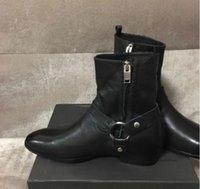 precio de las botas de los hombres negros al por mayor-Real picture factory Personalizado High Top Paris pasarela negro 100% cuero genuino hombres bota alta calidad mejor precio