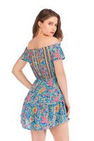 Wholesale asymmetrical dress flared skirt resale online - Womens Printed Dress New Arrival Slash Neck Printed Women Summer Dresses Holiday Beach Dress Short Fashion Casual Women Skirts
