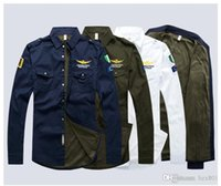 fabricantes de camisas de hombre al por mayor-Las ventas directas del fabricante de la camisa para hombre n. ° 1 de Flipped Collar Air Force en 2019 Moda, camisa de algodón, camisa de manga larga para hombre