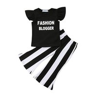 Wholesale european baby clothing online - kids designer clothes girls outfits children Flying sleeve ruffle letter tops striped Flare pants set Summer baby Clothing Sets C6753