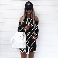 ingrosso abito bianco pieno di celebrità-Hot Donna Lettera Felpe con cappuccio stampato Abito estivo Autunno Alta qualità Off spalla Mini fasciatura Top Sportwear Taglie forti Abbigliamento S-3XL