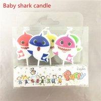 bebek doğum günü mumları toptan satış-Bebek Köpekbalığı Mum 5 adet / takım Parti Malzemeleri Çocuklar Doğum Günü Mumlar Akşam Parti Süslemeleri Doğum Günü Partisi Kek dekorasyon
