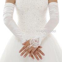 elfenbein braut lange handschuhe großhandel-Lange Satin-weiße oder Elfenbein-Brautspitze-Hochzeits-Handschuhe Die eleganten Handschuhe der fingerlosen Braut-Frauen