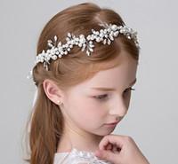 korece güzel saçlar toptan satış-Prenses inci saç tokası bandı güzel el yapımı korean saç bandı aksesuarları kızın kafa bandı bebek kafa bandı