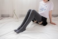 ingrosso calze lunghe coscia-Calze da donna in cotone sopra il ginocchio Calze autoreggenti Calza lunga